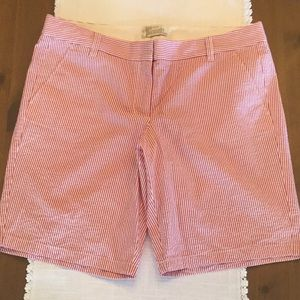 JCrew red and white striped Bermuda shorts